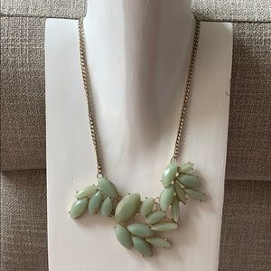 Jewelry - Light jade green statement necklace / leaf pattern